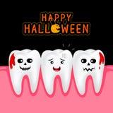 Cute cartoon tooth between vampires. Stock Photo