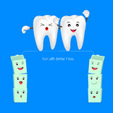 Cute cartoon tooth walking on dental floss. Royalty Free Stock Images
