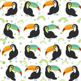 Cute Cartoon toucan birds set on white background, seamless pattern. Vector Royalty Free Stock Photo