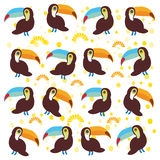 Cute Cartoon toucan birds set on white background Stock Photo