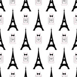 Cute cartoon tour Eiffel with perfume vector illustration. Paris symbols seamless pattern. Royalty Free Stock Photos