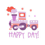 Cute cartoon toy train. Happy day colorful vector Illustration Stock Photo