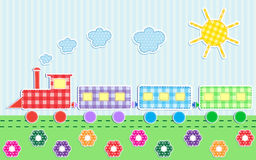 Cute cartoon train. Vector textile stickers Royalty Free Stock Images