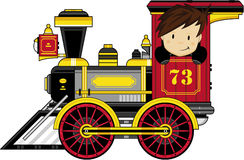 Cute Cartoon Train. Vector Illustration of a Cute Cartoon Wild West Train with Cute Kid Driver Royalty Free Stock Photo