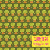 Cute cartoon tree oak seamless pattern. Royalty Free Stock Image