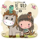 Cartoon tribal girl and Horse with feather. Cute Cartoon tribal girl and Horse with feather vector illustration