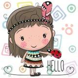 Cute Cartoon girl and ladybug Stock Photos