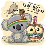 Cute Cartoon tribal Koala and owl. With feather Royalty Free Stock Image
