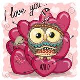 Cute Cartoon tribal owl with hearts Royalty Free Stock Photography
