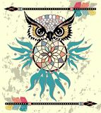 Cute Cartoon tribal Owl with feathers on a white background vector illustration