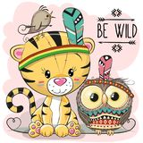 Cute Cartoon tribal Tiger and owl Royalty Free Stock Photo