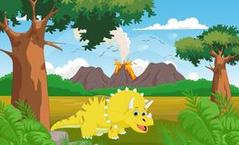 Cute cartoon Triceratops with volcano background Stock Photo
