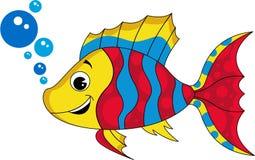 Cute Cartoon Tropical Fish. Vector Illustration of Striped Cartoon Tropical Fish Blowing Bubbles Royalty Free Stock Photography