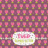 Cute cartoon tulip seamless pattern. Royalty Free Stock Photography