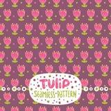 Cute cartoon tulip seamless pattern. stock illustration