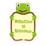 Cute cartoon turtle or frog border business frame vector kids banner illustration Stock Image