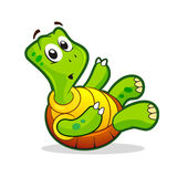 Cute cartoon turtle. Funny cartoon turtle. Vector illustration Stock Photography