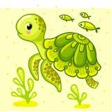 Cute cartoon turtle isolated. Royalty Free Stock Photos