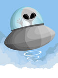 Cute cartoon UFO in the sky Royalty Free Stock Photo