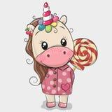 Cute Unicorn in coat and with Lollipop. Cute Cartoon Unicorn in coat and with Lollipop vector illustration