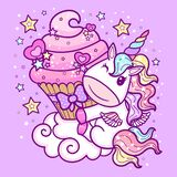 Cute cartoon unicorn with a cupcake on a cloud. Fantasy animal. Children's illustration. Vector.