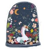 Cute cartoon unicorn stock illustration