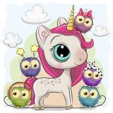 Cute Cartoon Unicorn and five owls stock illustration
