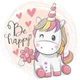 Cute Cartoon Unicorn with flower. Greeting Card with Cute Cartoon Unicorn with flower royalty free illustration