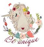 Cute cartoon unicorn vector illustration