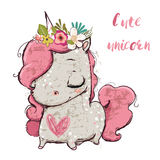 Cute cartoon unicorn. With flower wreath and heart Royalty Free Stock Images