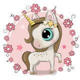 Cartoon Unicorn on a flowers background. Cute Cartoon Unicorn on a flowers background royalty free illustration
