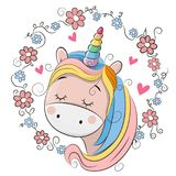 Cute Cartoon Unicorn with flowers. On a white background vector illustration