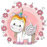 Cute Cartoon Unicorn. With flowers on a pink background stock illustration