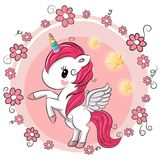 Cute Cartoon Unicorn with flowers. On a pink background Royalty Free Stock Image