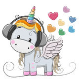Cute Cartoon Unicorn with headphones. And hearts royalty free illustration