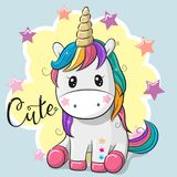 Cartoon Unicorn isolated on a gray background. Cute Cartoon Unicorn isolated on a gray background vector illustration