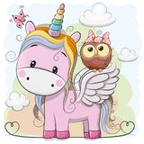 Cute Cartoon Unicorn and owl. Cute Cartoon pink Unicorn with owl in a bow vector illustration