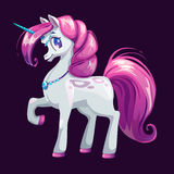 Cute cartoon unicorn with pink hair. Vector girlish illustration Stock Image