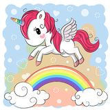 Cute Cartoon Unicorn and rainbow stock illustration