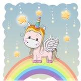 Cute Cartoon Unicorn on the rainbow vector illustration