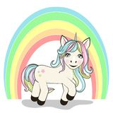 Cute Cartoon Unicorn and rainbow on white vector illustration