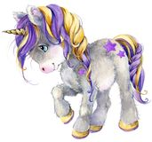 Cute cartoon unicorn watercolor illustration Royalty Free Stock Image