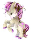 Cute cartoon unicorn watercolor illustration Stock Photo