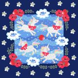 Cute cartoon unicorns and little blue birds on blue polka dot background in beautiful floral frame. Patchwork pattern for baby.  vector illustration