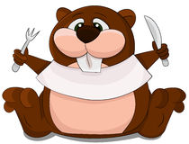 Cute cartoon unusual vector Beaver with spoon and fork Stock Image