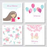 Cute cartoon Valentines day or birthday cards and templates set. Vector vector illustration