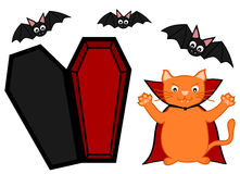 Cute cartoon vampire orange cat halloween background illustration Stock Images