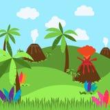 Cute Cartoon Vector Background of Desert, Jungle Or Ancient Landscape. Cute Cartoon Vector Background of Desert, Jungle or Dinosaur Era Landscape Royalty Free Stock Photography