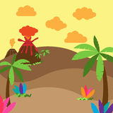 Cute Cartoon Vector Background of Desert, Jungle Or Ancient Landscape Stock Images