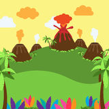 Cute Cartoon Vector Background of Desert, Jungle Or Ancient Landscape Stock Image